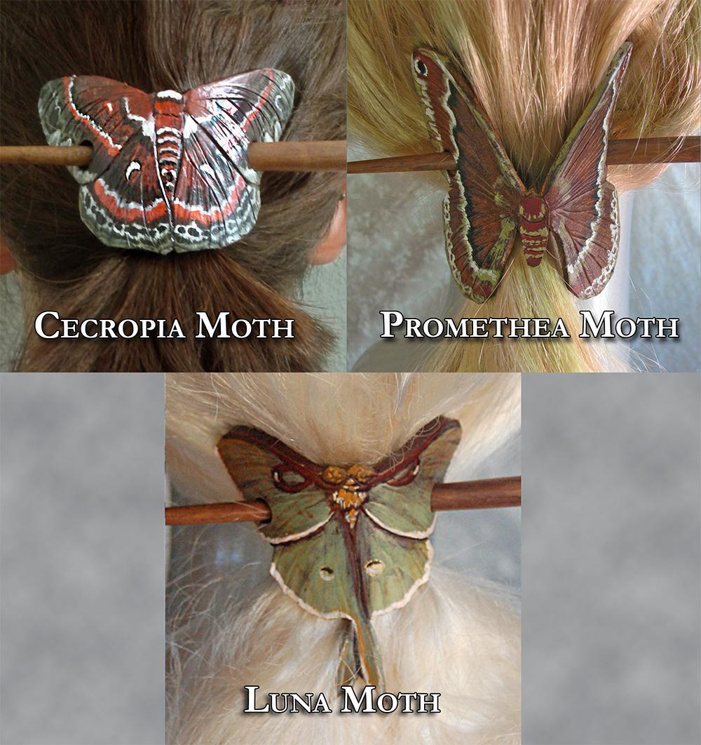 Moth Hair Brooches