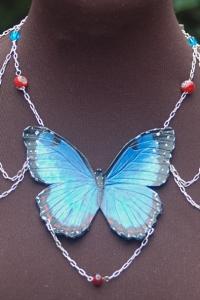 Blue Morpho Shoulder Chain Necklace