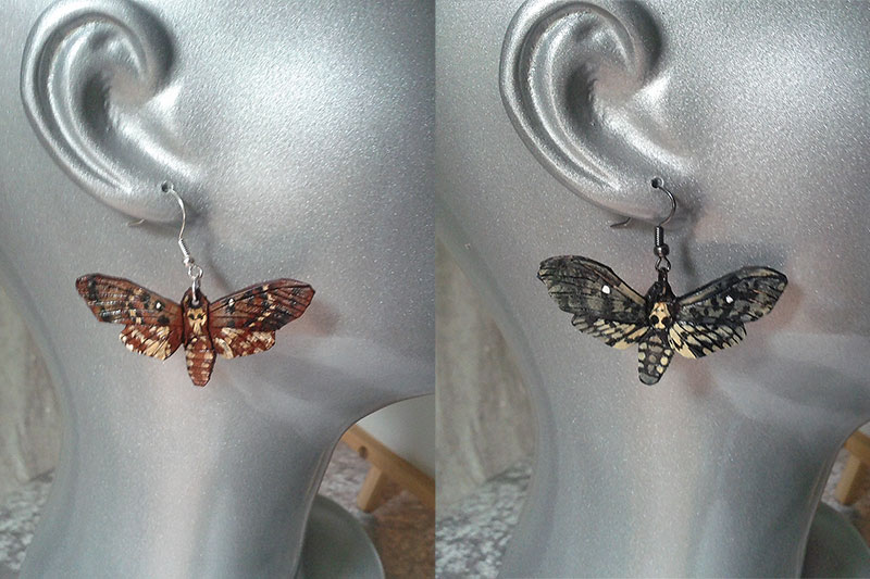 Death's Head Moth Earrings