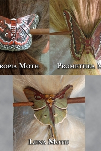 Moth Hair Brooches