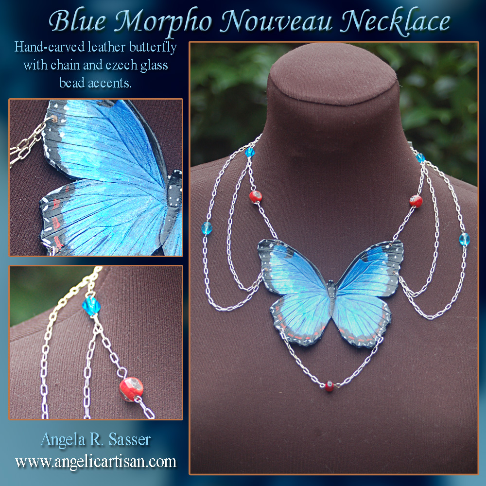 Blue Morpho Shoulder Chain Necklace